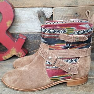 Cynthia Vincent West Ikat Brown Leather Boots